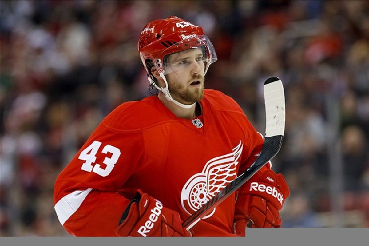 March 4, 2012; Detroit, MI, USA; Detroit Red Wings center Darren Helm (43) during the game against the Chicago Blackhawks at Joe Louis Arena. Mandatory Credit: Rick Osentoski-US PRESSWIRE