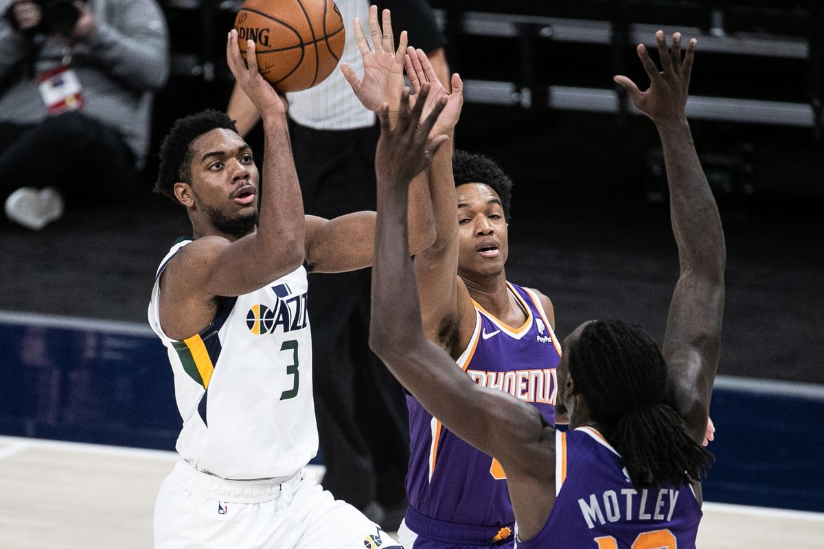 Utah Jazz guard Trent Forrest makes a layup against the Phoenix Suns at Vivint Arena in Salt Lake City.