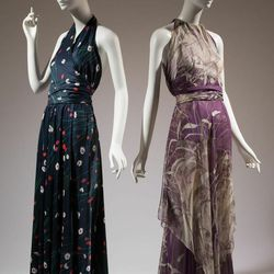 """""""Here we have these two draped halter dresses, and they're very similar aesthetically, but the Halston (left) is self-tie—there's no understructure. The Yves Saint Laurent is completely devised already, and though it looks like you might be able to wrap i"""