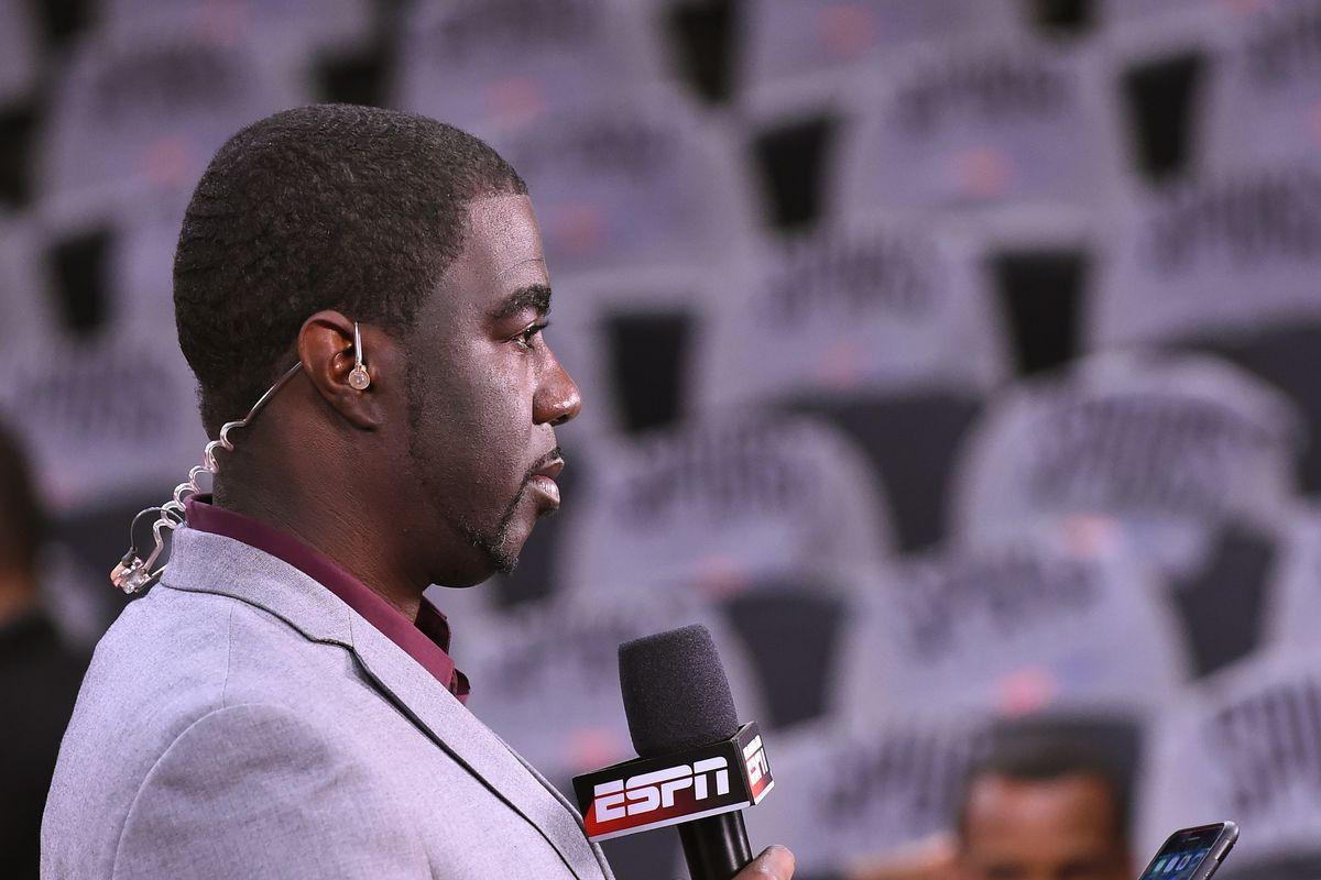 Chris Haynes prepares for ESPN broadcast.