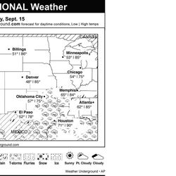 This is the Weather Underground forecast for Saturday, Sept. 15, 2012 for the central region of the U.S.