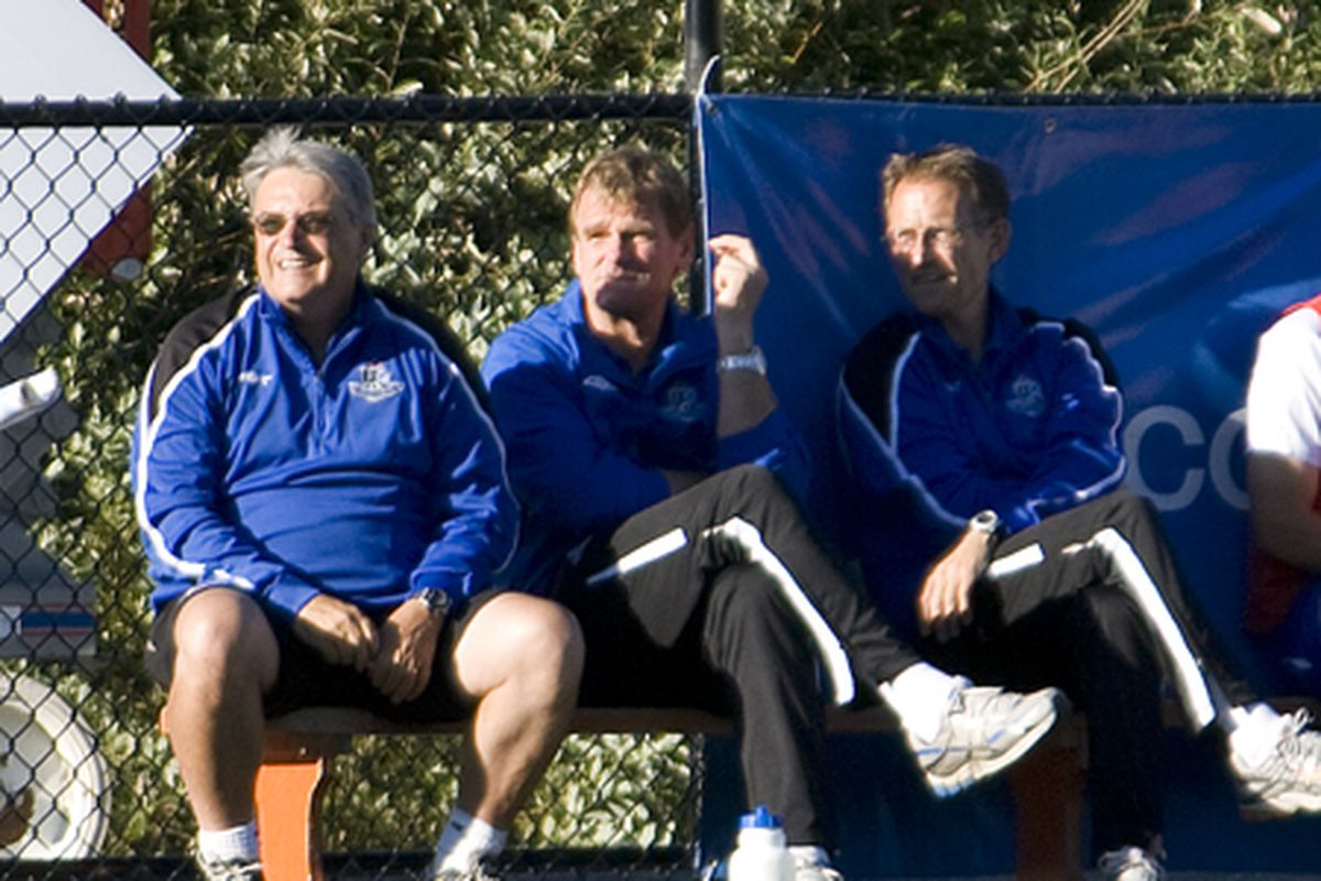 The former coaching staff of FC Edmonton at a friendly match in Victoria, British Columbia. The new boss looks different, but the origins have a lot in common. (Benjamin Massey/Eighty Six Forever)