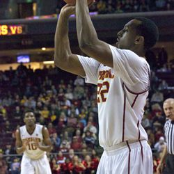 Byron Wesley shoots from the corner.