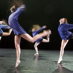 """Dancers rehearse Aug. 12 for """"Momentum Elevated"""" at the Rose Wagner Performing Arts Center. The performance involves alumni of the Ririe-Woodbury Dance Company."""