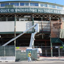 9:51 a.m. The front of the ballpark -