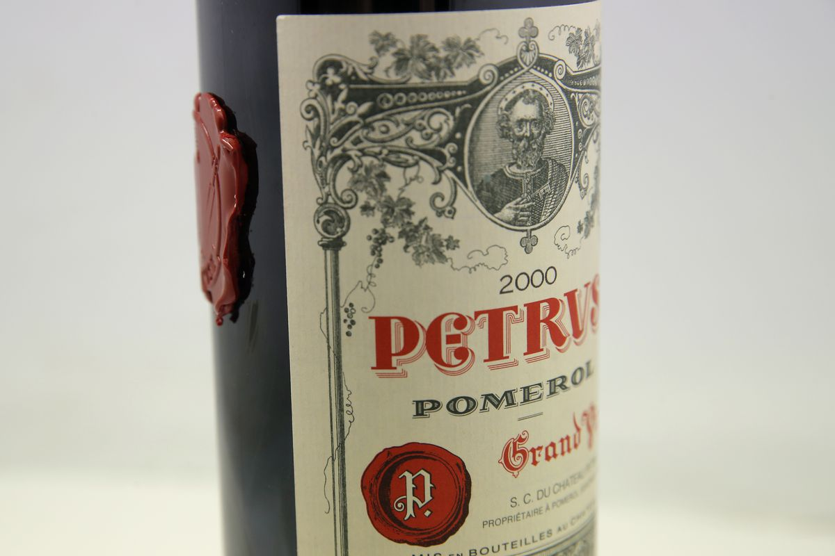 A bottle of Petrus red wine that spent a year orbiting the world in the International Space Station is pictured in Paris earlier this month.