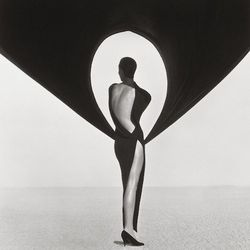 Herb Ritts, Versace Dress, Back View, El Mirage (1990) © Herb Ritts Foundation, Credit: The J. Paul Getty Museum, Los Angeles, Gift of Herb Ritts Foundation