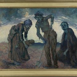 """This image provided by Quinnipiac University of an oil on canvas painting by Lilian Lucy Davidson titled """"Burying the Child,"""" is among the artwork on display in Ireland's Great Hunger Museum on the school's campus in Hamden, Conn.  School officials say the museum, which will open on Oct. 11, 2012, has the world's largest collection of visual art, artifacts and printed materials related to the famine from 1845-52, when blight destroyed virtually all of Ireland's potato crops."""