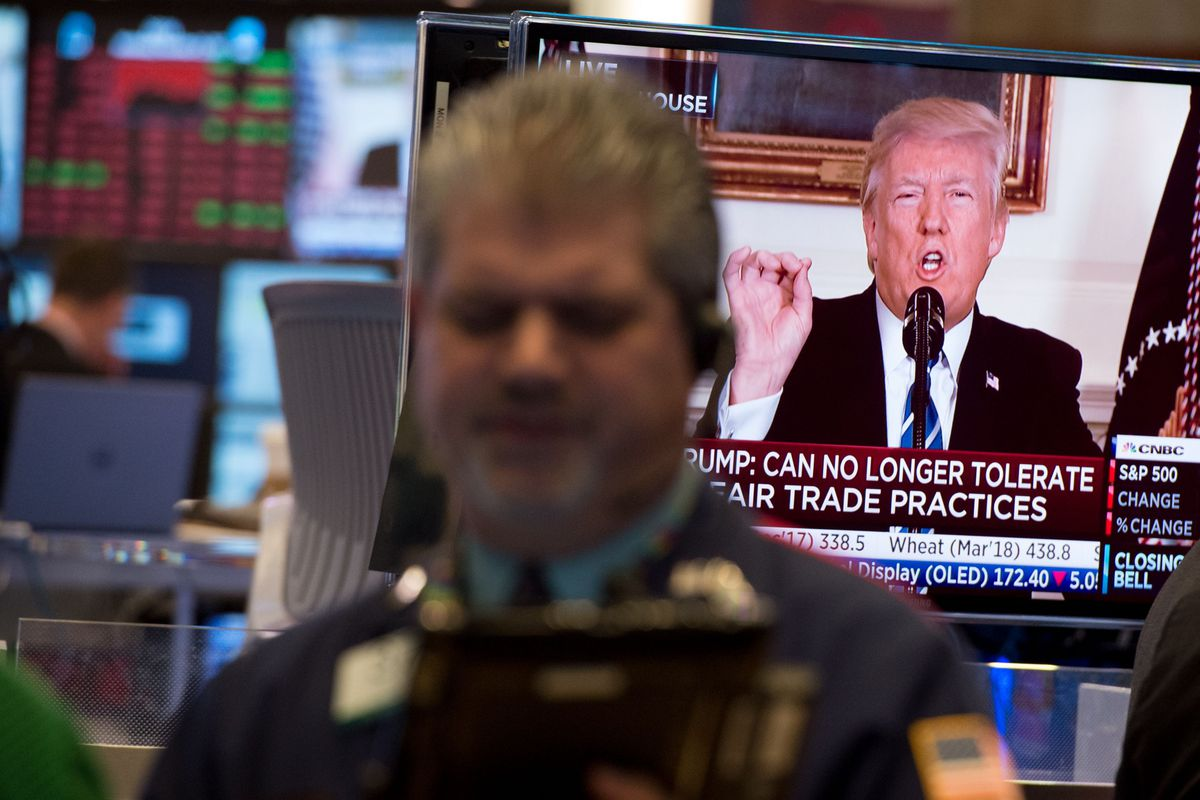 Traders at the New York Stock Exchange as Trump delivers a televised address.
