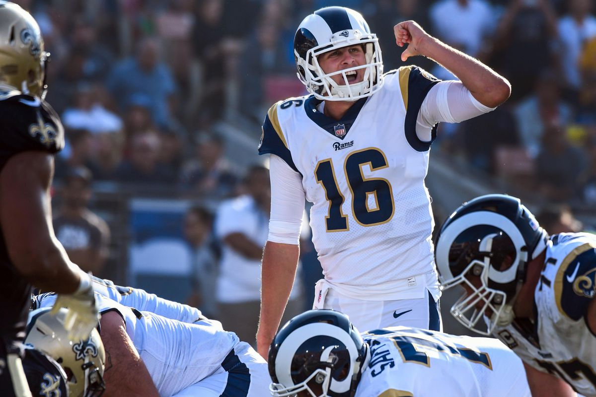 Los Angeles Rams QB Jared Goff calls a play at the line of scrimmage during the second quarter against the New Orleans Saints at the Los Angeles Memorial Coliseum, Nov. 26, 2017.