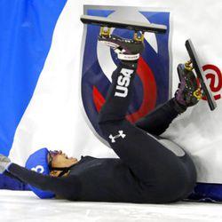 Jessica Kooreman (3) crashes during the women's 1000-meter A final race at the U.S.Olympic short track speedskating trials Sunday, Dec. 17, 2017, in Kearns, Utah. (AP Photo/Rick Bowmer)