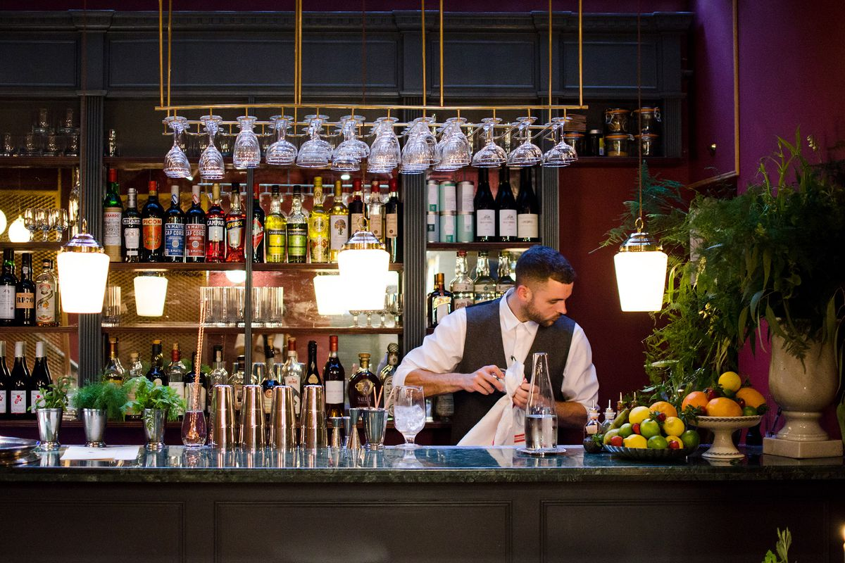 The marble bar at Cora Pearl, a new London restaurant in Covent Garden