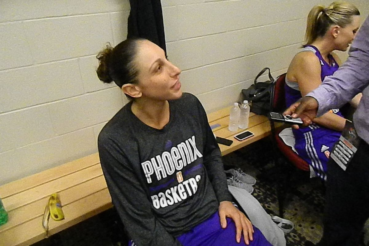 Phoenix Mercury guard Diana Taurasi in the visitors locker room at the Prudential Center after Tuesday night's win against the New York Liberty.