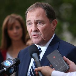 Gov. Gary Herbert talks with media outside the Governor's Mansion in Salt Lake City on Tuesday, June 28, 2016. Herbert defeated Jonathan Johnson in Tuesday's primary.