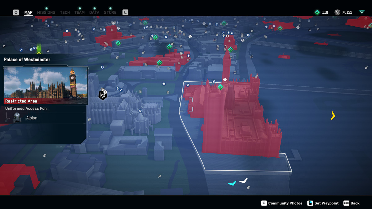 The Palace of Westminster in Watch Dogs: Legion's map