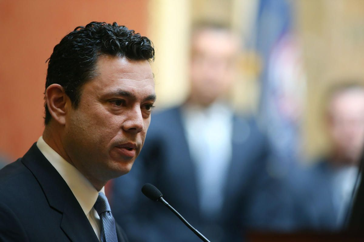 FILE — Rep. Jason Chaffetz addresses members of the House of Representative at the Capitol in Salt Lake City on Friday, Feb. 19, 2016.