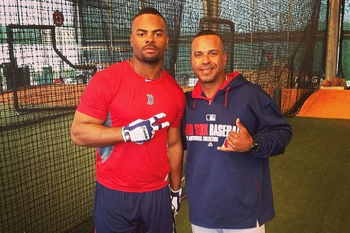 Browns LB Brandon Magee, left, giving baseball a shot in the Red Sox' organization.