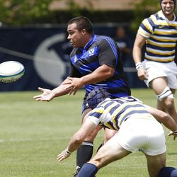 BYU's Ray Forrester passes as BYU defeats Cal 27-24 in rugby on a drop as time expires to win the Varsity Cup national championship Saturday, May 4, 2013, in Provo.