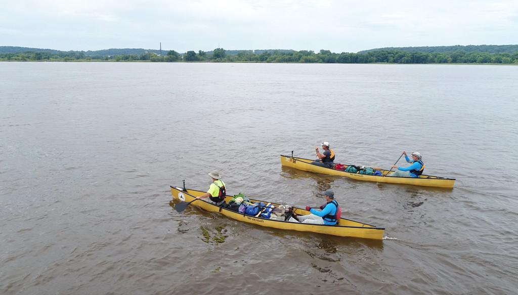 Paul Meincke, Tom Lobacz, Tim Clark and Bill Baar (closer canoe) make their way along the Mississippi River. | Provided photo