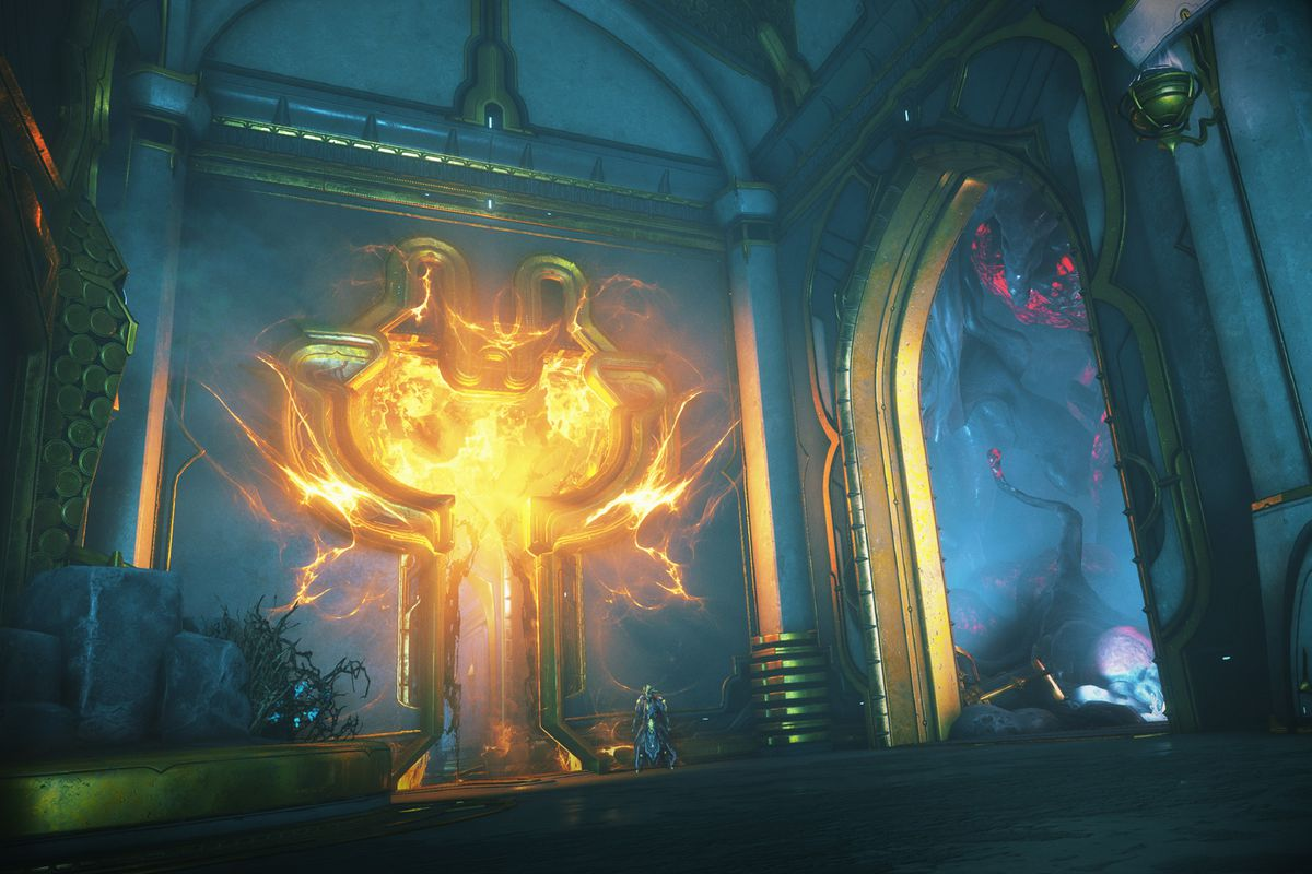Warframe - an environment within Deimos, the second moon of Mars