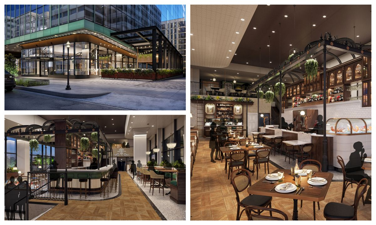 Renderings of the exterior, the marble bar, and the plant-filled dining room at incoming Dauphine's