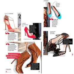 From Glamour's February issue. Clockwise from top right: The Billie flat ($195), the Etta T-strap ($425), the Alison bootie ($485), the Carrie ($355). At center, the Lady pump ($350).