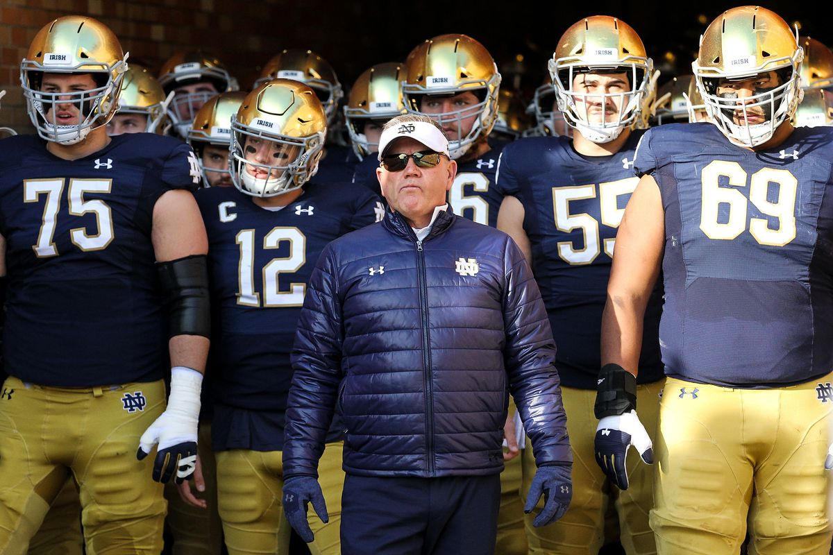 Head coach Brian Kelly of the Notre Dame Fighting Irish looks on before the game against the Navy Midshipmen at Notre Dame Stadium on November 16, 2019 in South Bend, Indiana.