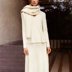 Lambswool cropped sweater, $49.90; extra-fine merino flare v-neck sweater, $49.90; extra fine merino skirt, $49.90