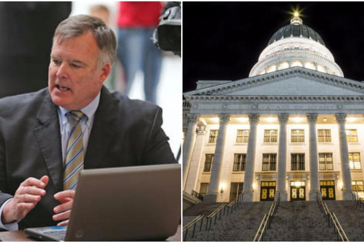 Left: Hugh Gallagher explains the Utah Republican Party online voting application during a press conference at the Capitol in Salt Lake City on Monday, March 7, 2016. Right: Utah State Capitol