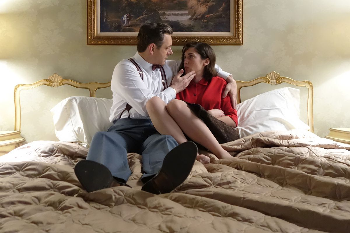 Bill (Michael Sheen) consoles Virginia (Lizzy Caplan) after she reveals Lillian is dying.