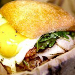porchetta w egg at Evan Funke's Umbria homage from the Porchetta Truck @BucatoLA by @LA_Chefs