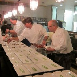 New Orleans Flavors - Sons of Louisiana Dinner at Serpas, Atlanta. from left to right behind the pass: scott serpas (of Serpas in Atlanta), john besh (of Restaurant August in NOLA), john currence (of City Grocery in Oxford, MS)