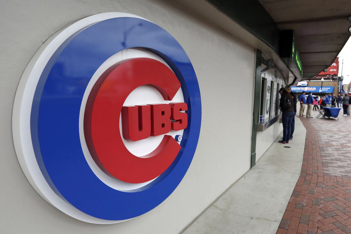 This April 15, 2013, file photo shows the Chicago Cubs logo on the exterior of Wrigley Field.