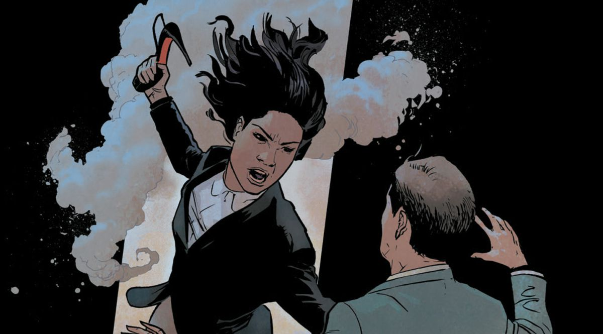 Avery readies to stab a member of the authorities in the eye with a stiletto heel, in Safe Sex #1, Image Comics (2019).