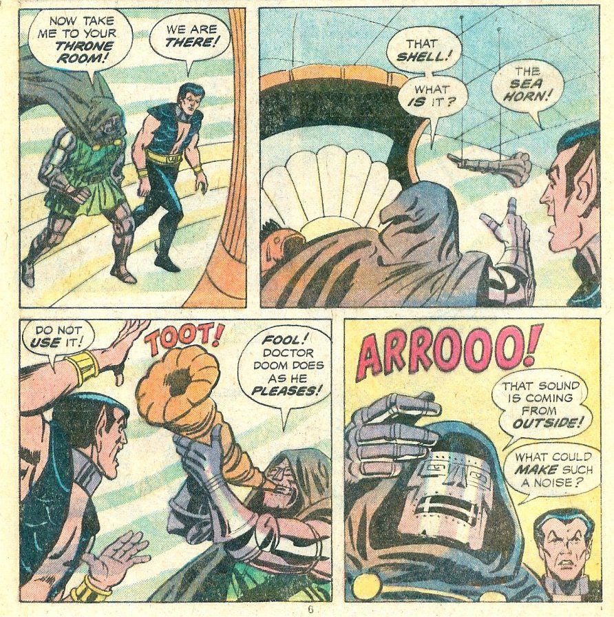 Doctor Doom demands to blow a conch shell in Namor's throne room, summoning a giant sea monster, in Spidey Super Stories #53, Marvel Comics (1981).