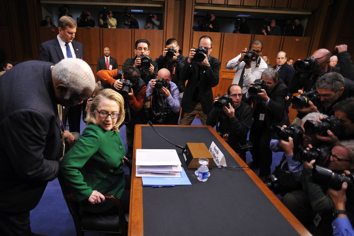 Secretary of State Hillary Clinton testifies before Congress on Benghazi in 2013