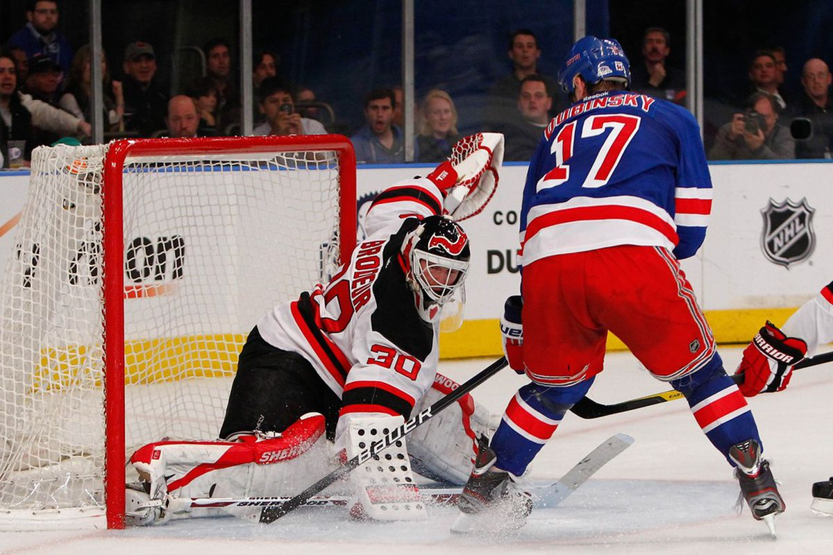 Pictured: The result of a Devils turnover in the third period.  It didn't end up in a goal because of Martin Brodeur (or the Rangers' misses at the time). Mandatory Credit: Debby Wong-US PRESSWIRE