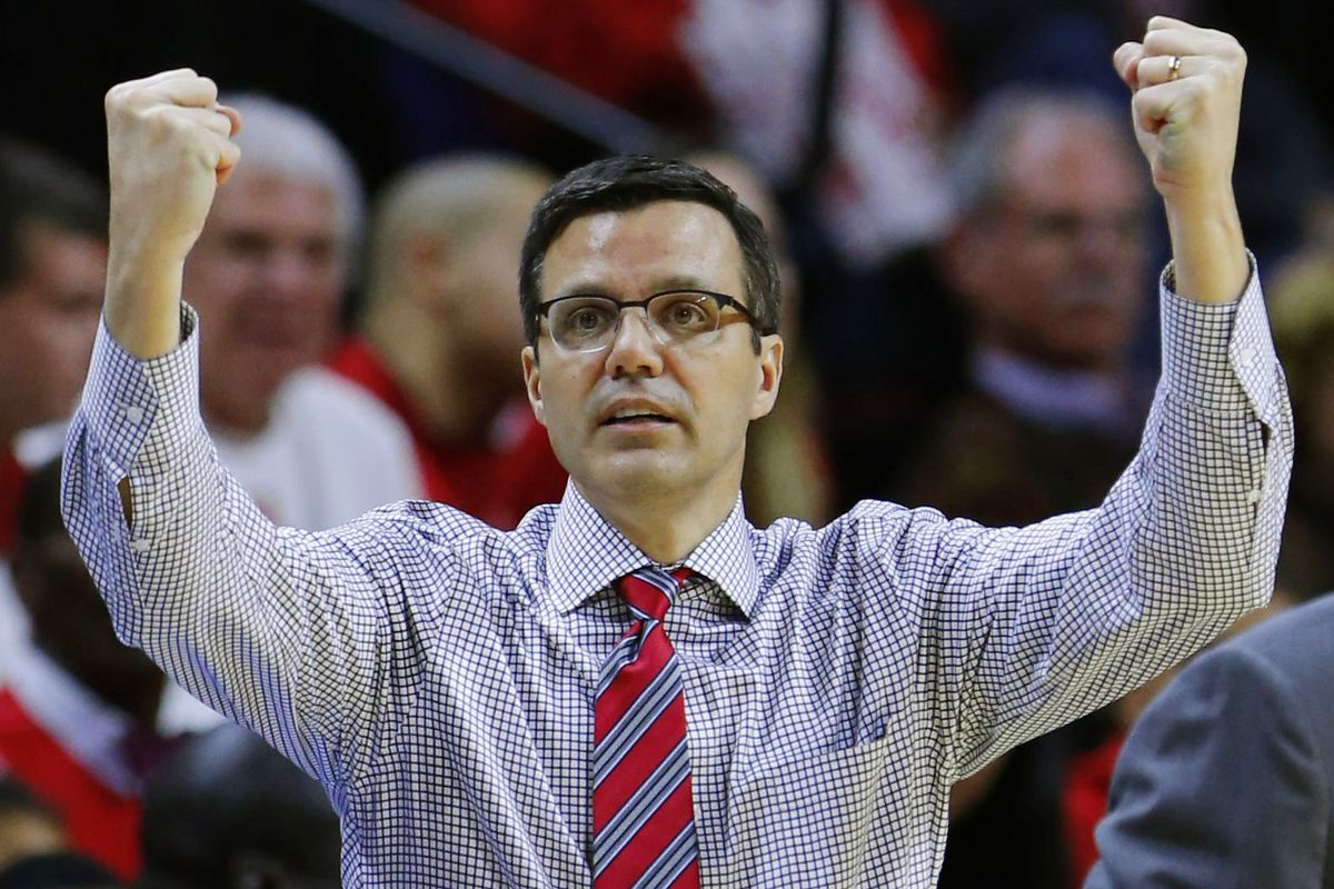 Tim Miles clenches his fists in anger!