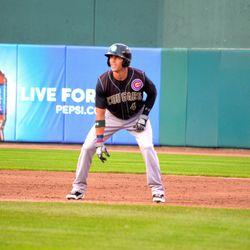 Jake Hannemann leads off first base