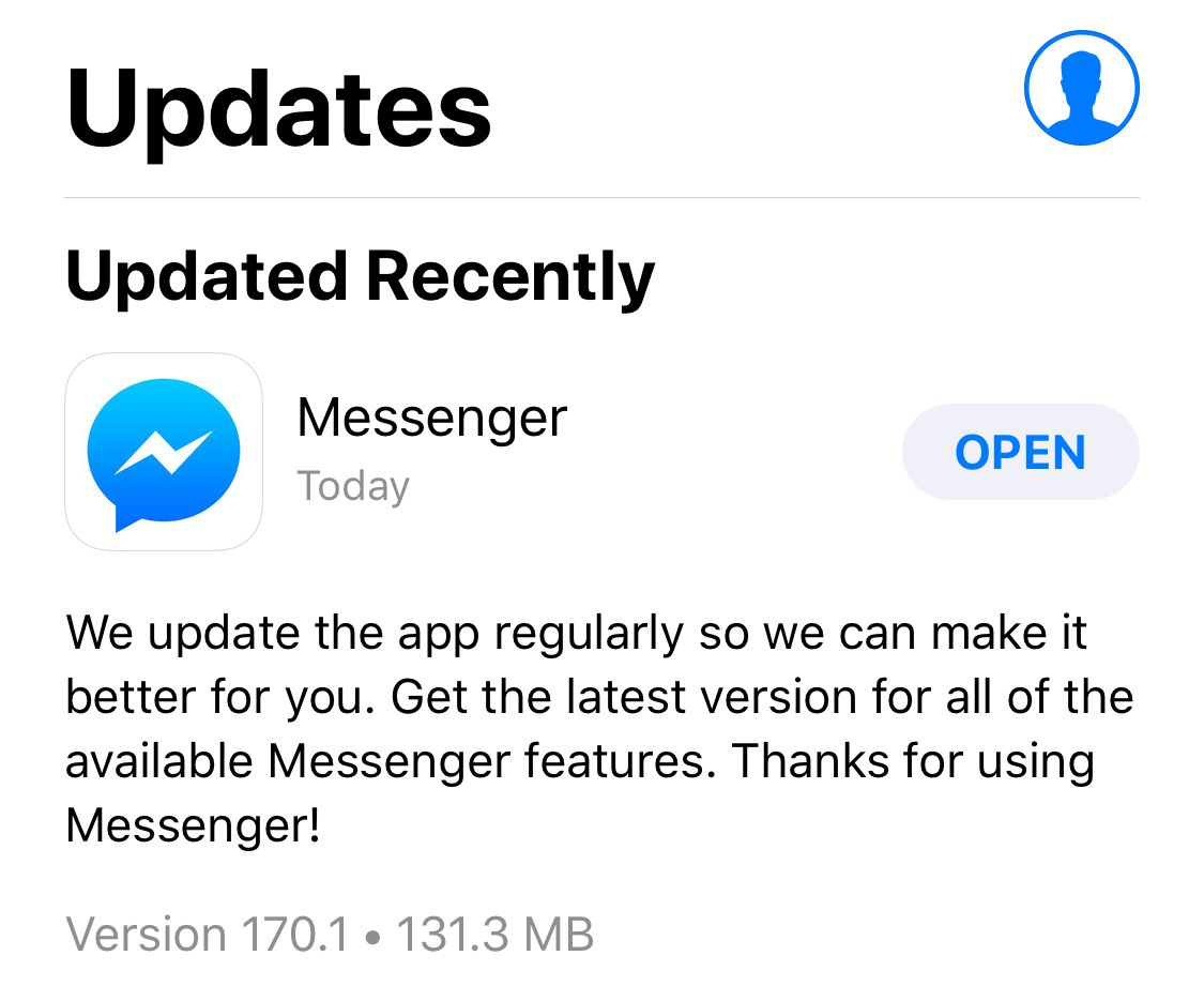 Facebook's latest Messenger update for iOS is making the app