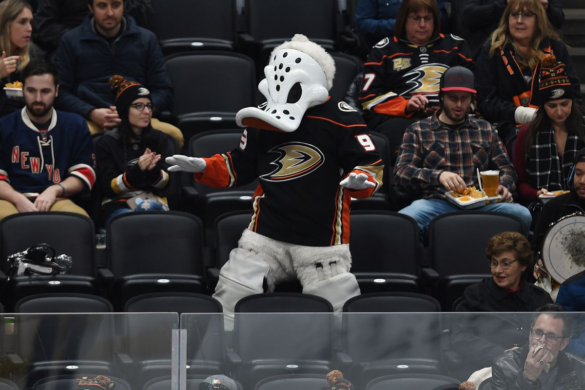 ANAHEIM, CA - DECEMBER 14: Anaheim Ducks mascot Wild Wing in the stands during a game against the New York Rangers played on December 14, 2019 at the Honda Center in Anaheim, CA.