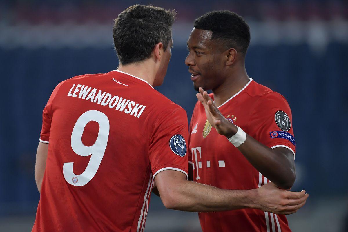 Robert Lewandowski of FC Bayern Munchen celebrates with...