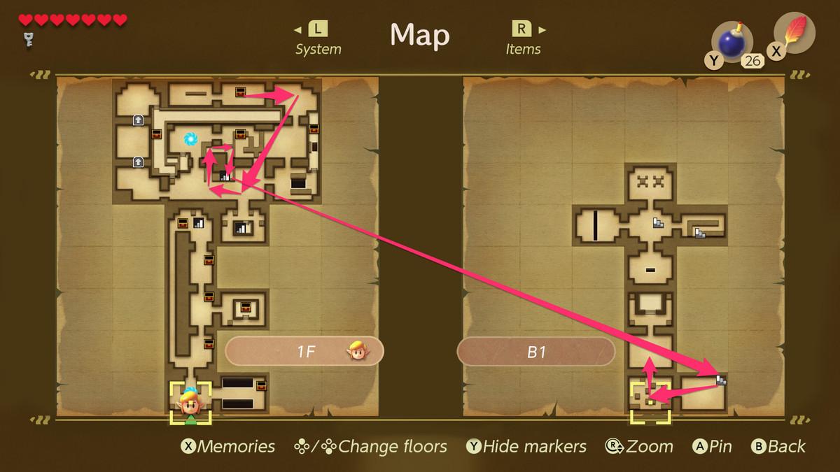 Link's Awakening Key Cavern path to the Slime Eyes boss fight