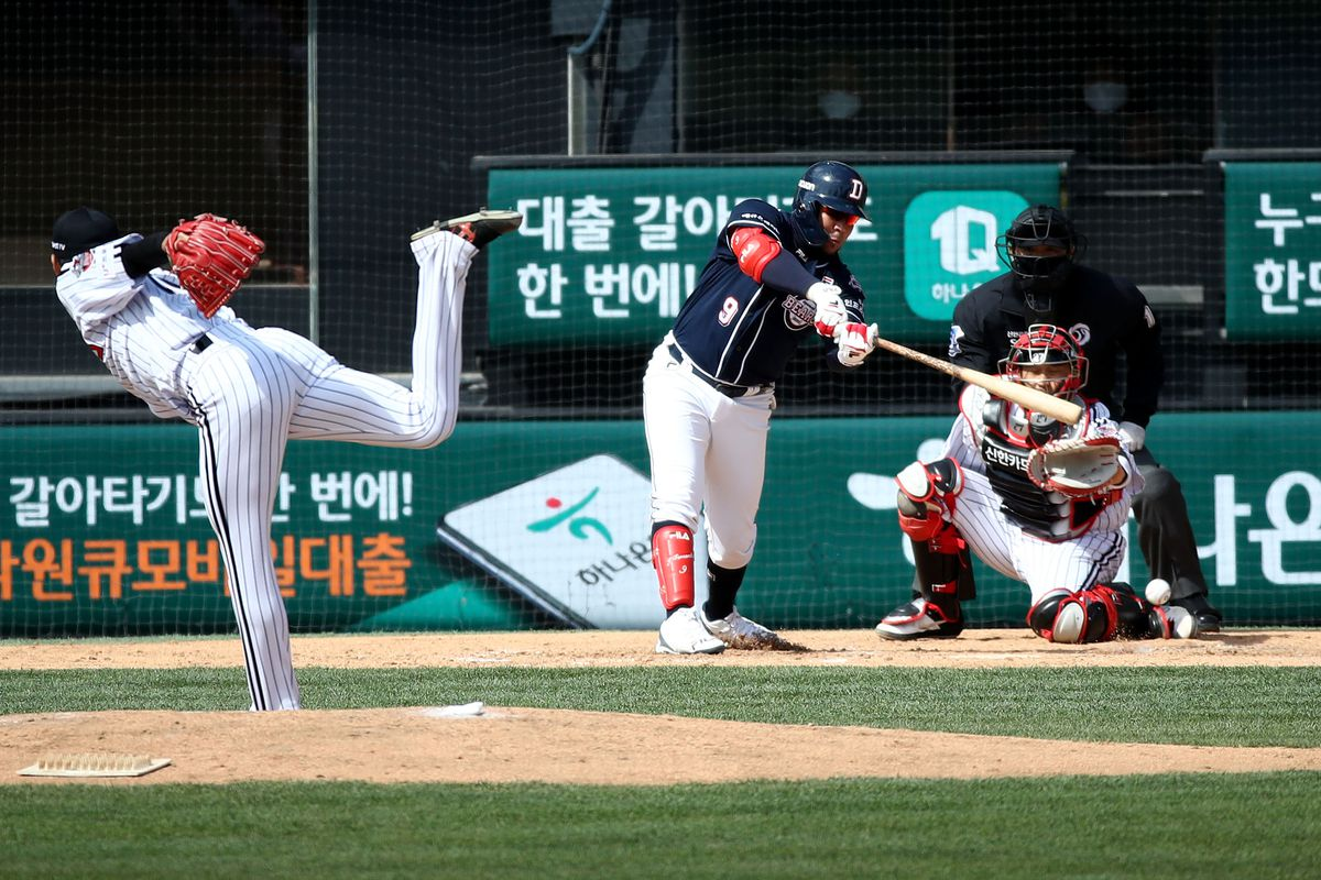 Jose Miguel Fernandez of Doosan Bears bats during the preseason game between LG Twins and Doosan Bears at Jamsil Baseball Stadium on April 21, 2020 in Seoul, South Korea. The Korea Baseball Organization (KBO) open a preseason games Tuesday, with its 10 clubs scheduled to play four games each through April 27. The Korea Baseball Organization (KBO) announced Tuesday that the 2020 regular season, postponed from its March 28 start date due to the coronavirus outbreak, will begin May 5.