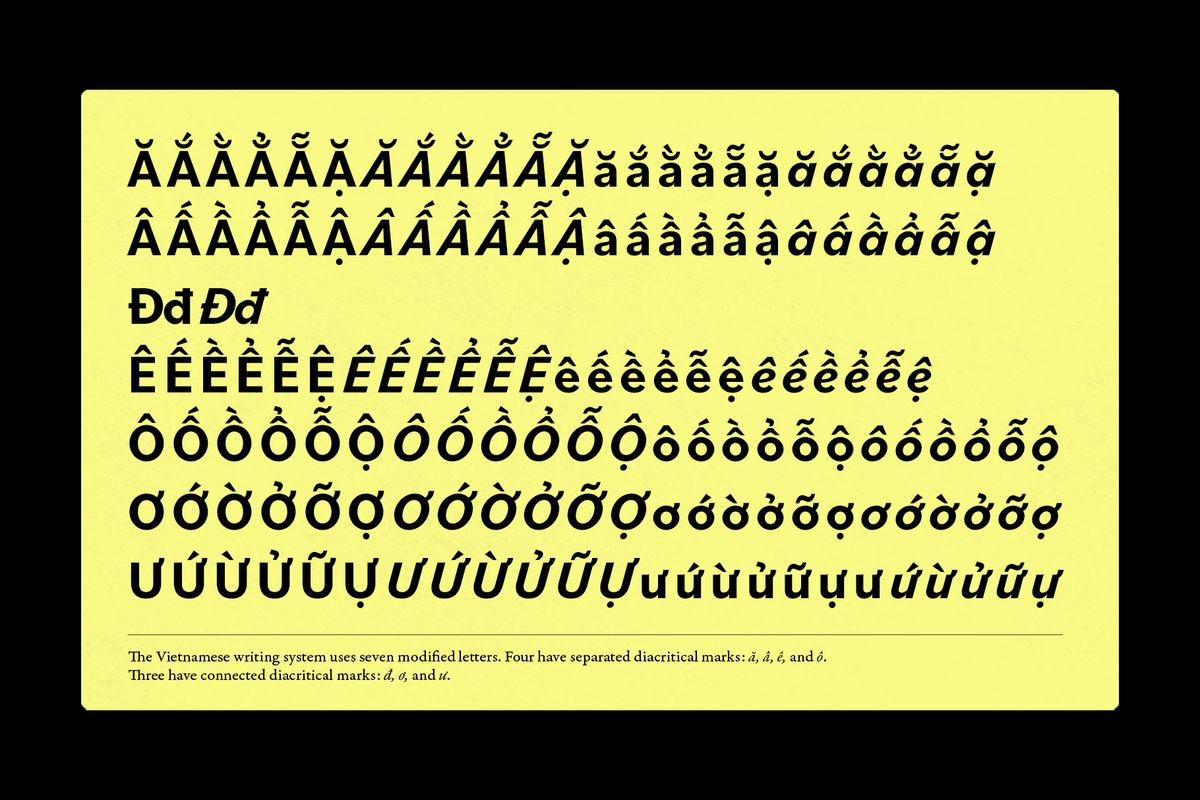 """Characters from the Latin-based Vietnamese alphabet displayed in the font """"Bilo"""" showing diacritical marks."""
