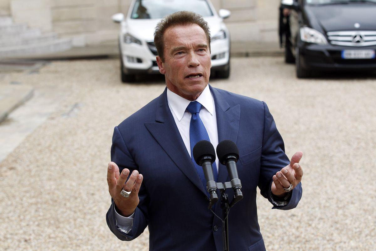 Arnold Schwarzenegger At Elysee Palace In Paris
