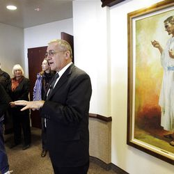 LDS Church architect Dave Alley leads group on a tour of  a silver LEED-certified LDS chapel in Farmington, Utah.