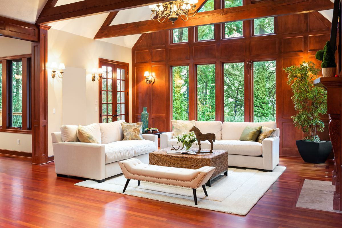 Living room interior with furniture on are rug.
