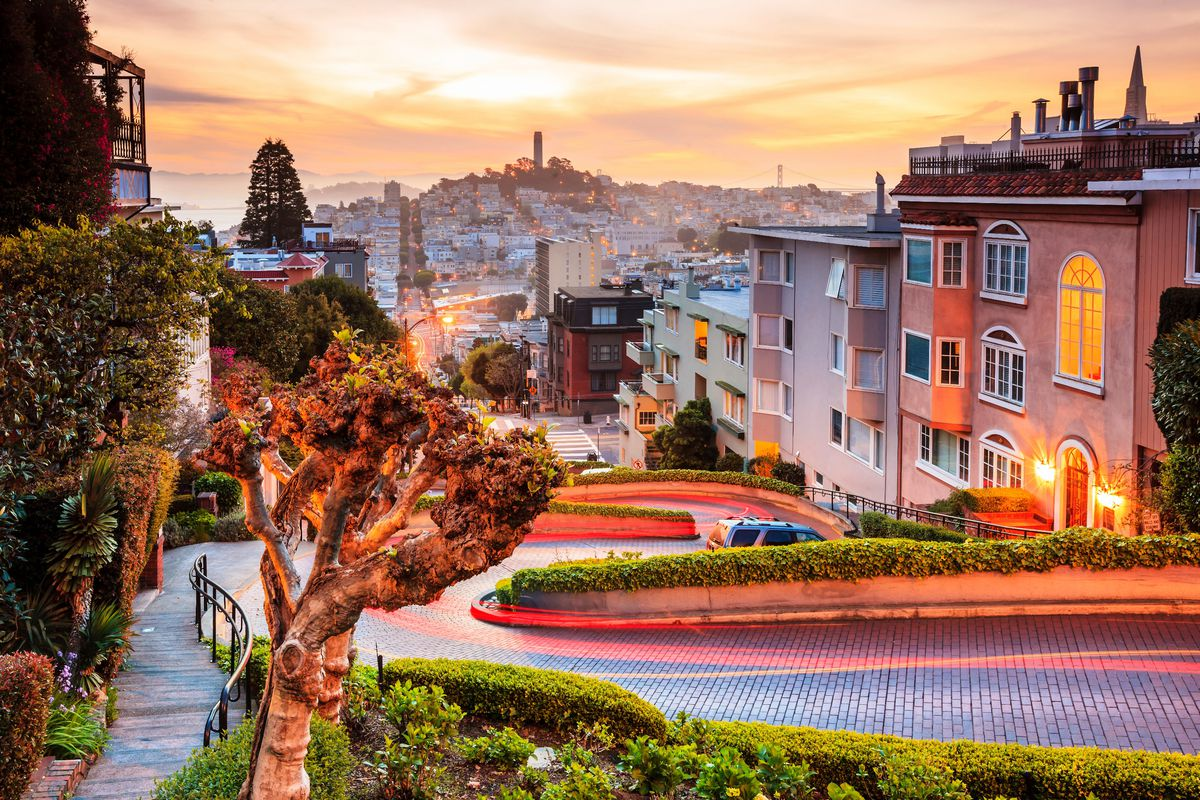 A photo of the homes along Lombard Street at Sunset.