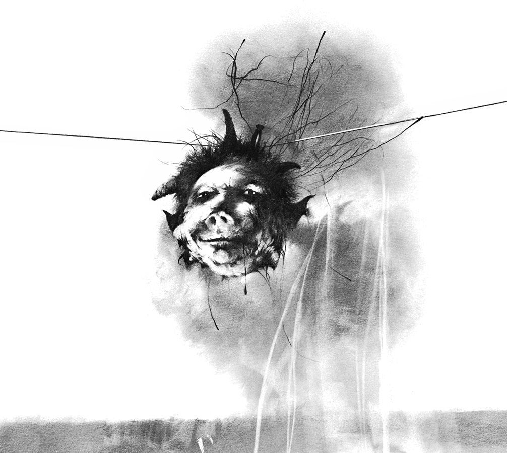 A black and white illustration of a severed head suspended on a wire, smiling smugly at the viewer